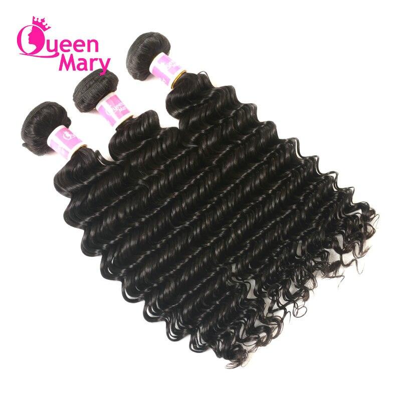 3 Bundles Deep Wave Brazilian Hair Weave Human Hair Bundles Queen Mary Non Remy Hair Weave Bundles Natural Color Free Shipping