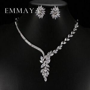 Image 1 - Emmaya 새로운 독특한 디자인 초커 목걸이 스터드 귀걸이 신부 보석 세트 웨딩 액세서리 dropship