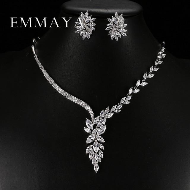 Emmaya 새로운 독특한 디자인 초커 목걸이 스터드 귀걸이 신부 보석 세트 웨딩 액세서리 dropship