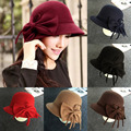 New Autumn Winter Women Vintage Solid Fedora Hat Bowknot Cup 6 Colors Free Shipping C1