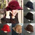 Nuevo Otoño Invierno de Las Mujeres de La Vendimia Sólido Sombrero Fedora Bowknot Copa 6 Colores Envío Libre C1
