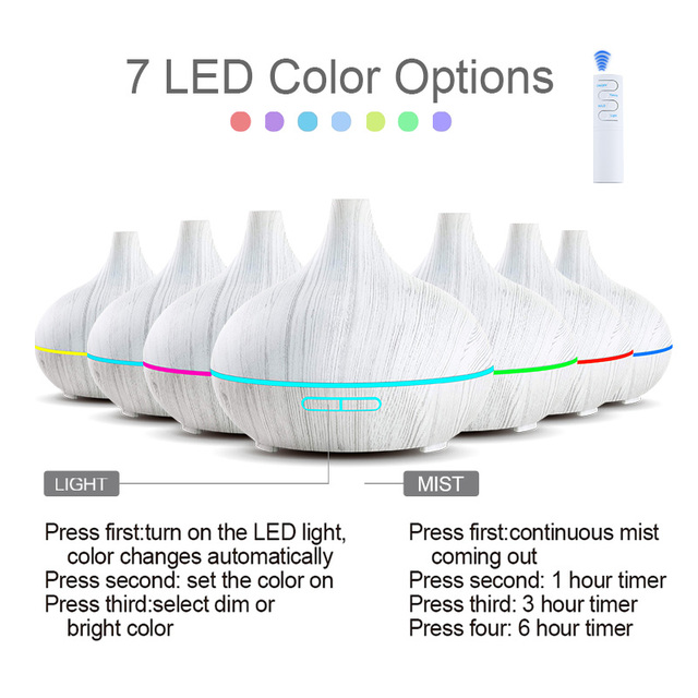 KBAYBO 550ml Ultrasonic Electric Air Humidifier Aroma Oil Diffuser White Wood Grain remote control 7 colors LED Lights for home 1