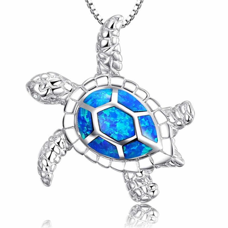 Moda srebrny wypełniony niebieski Imitati Opal żółw morski wisiorek naszyjnik dla kobiet kobieta zwierząt ślub Ocean biżuteria plażowa prezent