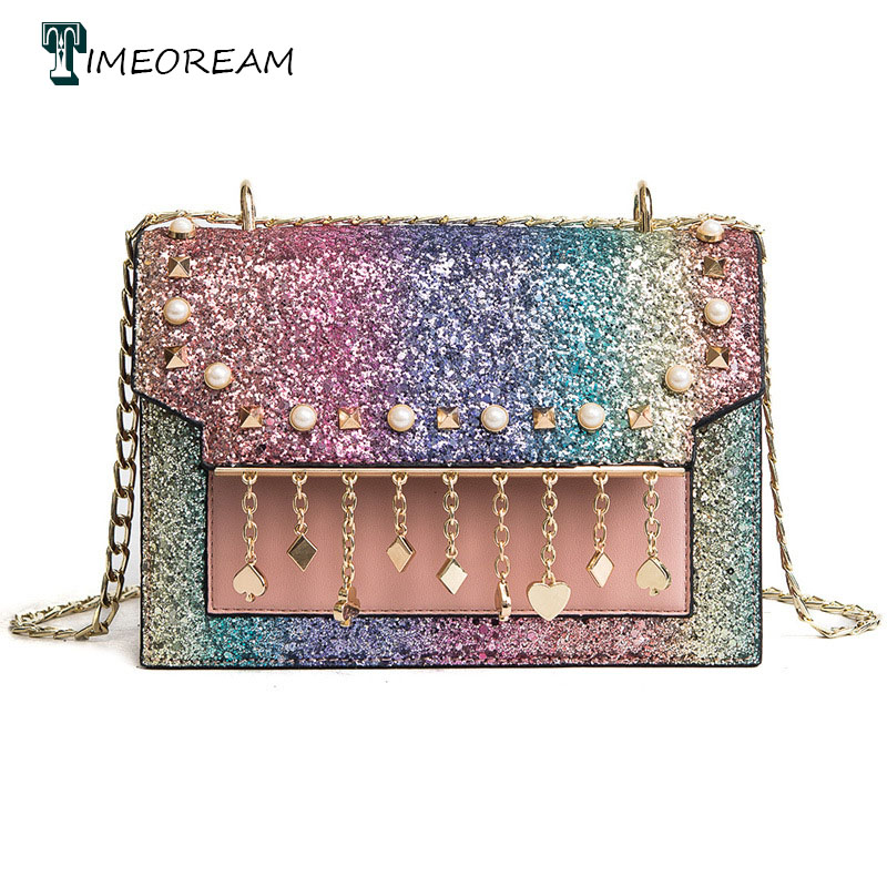 TIMEROEAM Brand Designer on S 2018 Spring New Luxury Leather Pearl Pendant Ladies Bag Rainbow Sequined Shoulder Bag Diagonal
