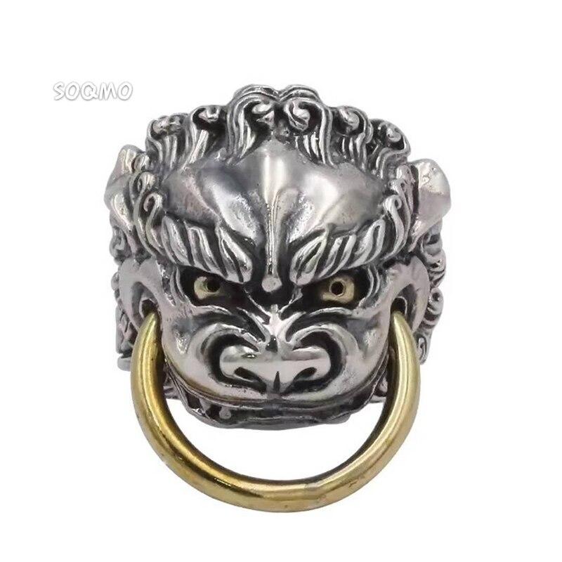 SOQMO 925 en argent Sterling Dragon anneaux ouverts pour hommes chinois antique Animal anneau Vintage Thai argent bijoux SQM102