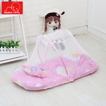 Folding Arched Infant Bed Mosquito Nets Portable Kid Infant Cradle Bed Crib Dot Zipper Netting Summer Tent Crib Sleeping Cushion недорого