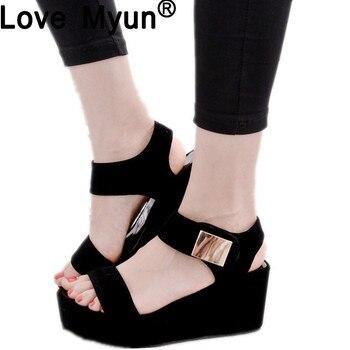 sandals women Summer shoes Woman wedges platform sandals Fashion Flange Rome sandals white black women shoes 869hu римские сандали