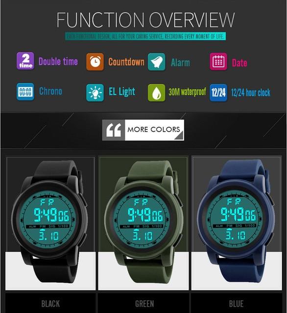 New Men Sports Watches Waterproof Outdoor Fun Multifunction Digital Watch Swimming Running LED Wristwatch Montre Homme 4