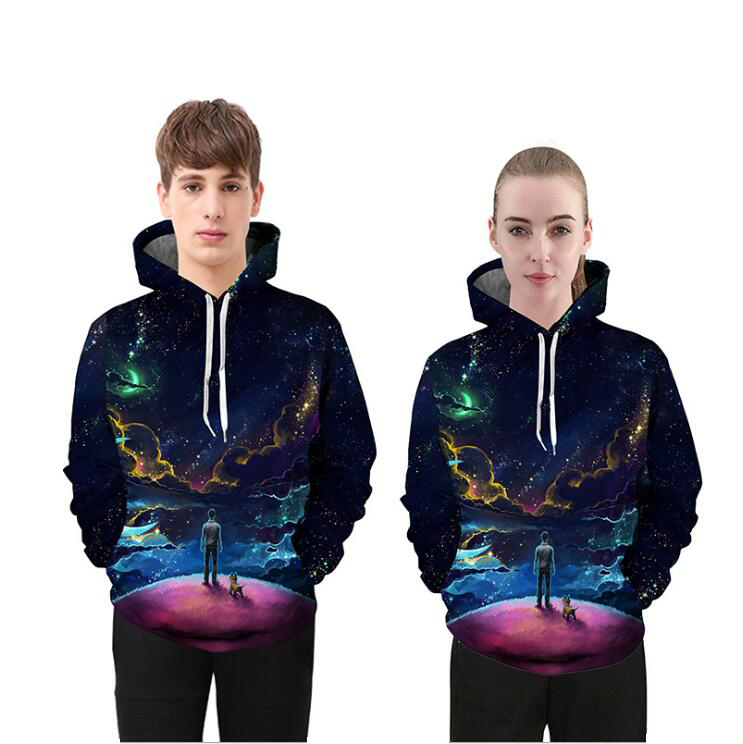 Mr.1991INC New Style Hoodies Men/Women Sweatshirts Youth And Dog Look at Starry Sky Printed 3D Lover Sweatshirts M~XXXL Spring
