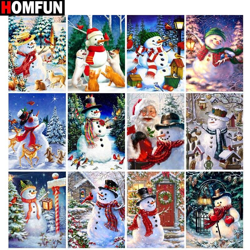5D DIY Full Diamond Painting Christmas Snowman Embroidery Cross Stitch Decor