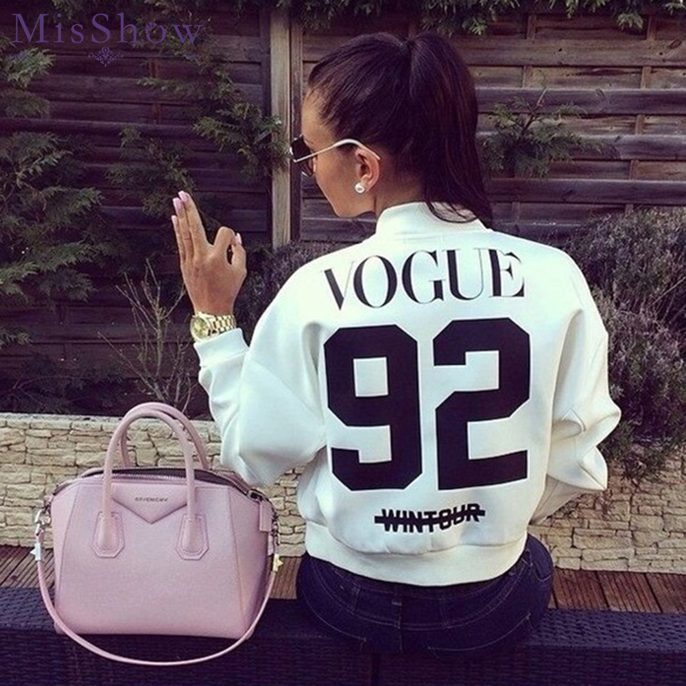 Womens Autumn Casual   Jackets   Ladies White Black Zipper Front Stand Collar Long Sleeve   Basic     Jacket   Letter Printed Coat Outwear