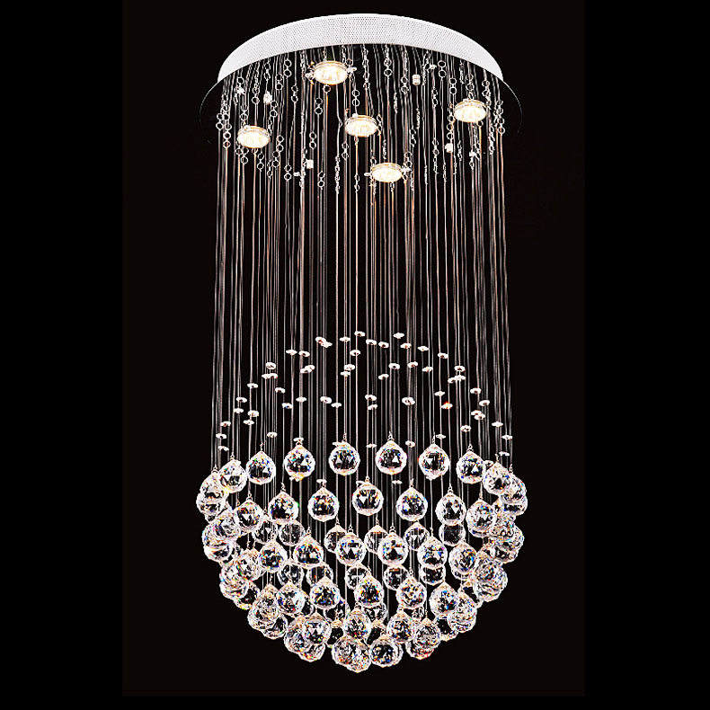 GU10 led crystal lamp living room bedroom lamps restaurant lamp stair chandelier light ball wire drawing hanging