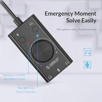 ORICO регулятор громкости 3-портовый микрофон для наушников адаптер звуковой карты внешняя USB Звуковая карта для ПК Аксессуары