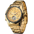 relogio masculino Famous Luxury Brand Stainless Steel Men Dress Automatic Mechanical Self Wind Skeleton Gold Watch