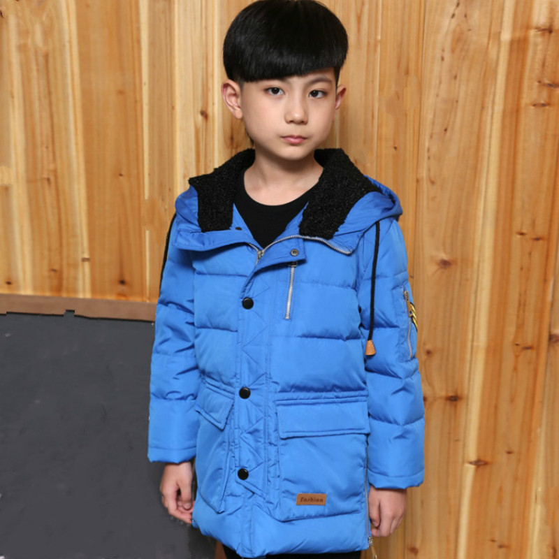 2018Down new winter boy thickening children's fashion long winter coat big children's with hat down