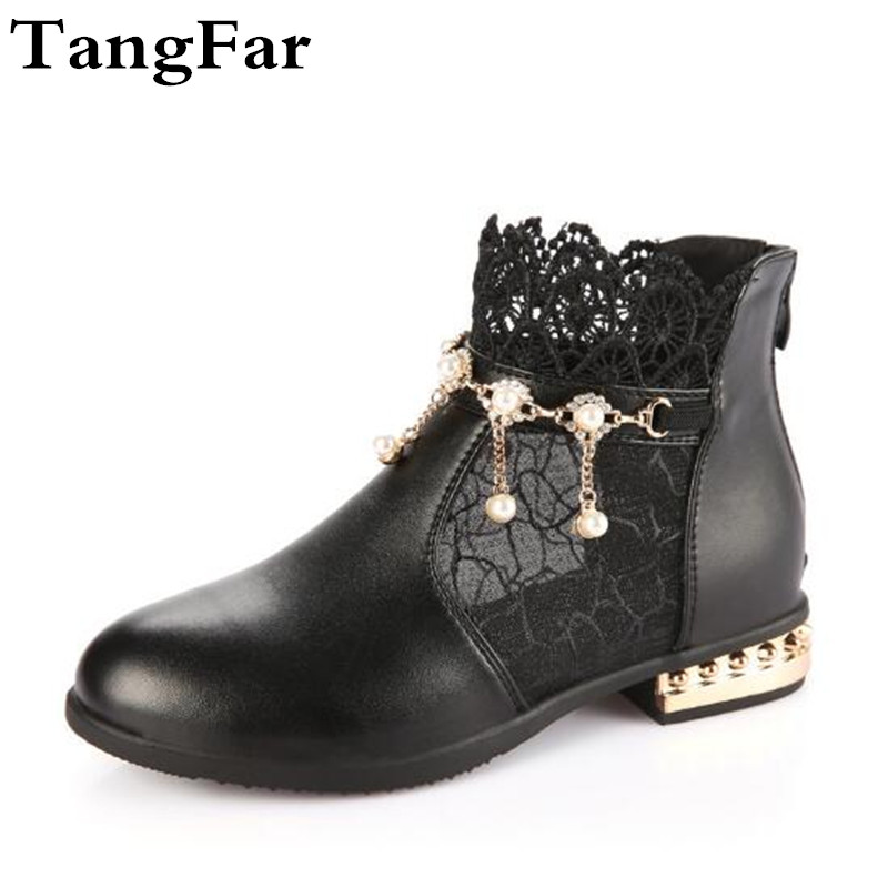 High Heel Sandals For Children Beaded Lace Leather Girl Party Shoes White Elegant Toddler Dance Causal Shoes Sneaker