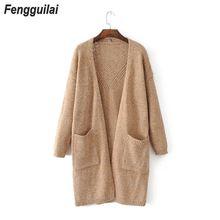 дешево!  Новый 2019 шерстяной кардиган женский свитер свободного покроя пальто осень-зима длинный кардиган ши
