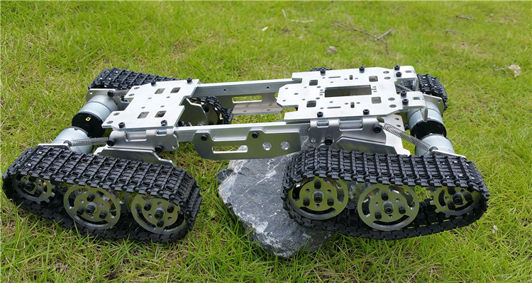 WY569 Intelligence RC Tank Car Truck Robot Chassis for FPV 393mm*206mm*84mm CNC Alloy body+4 Plastic tracks + 4 Motors игрушка танк happy cow fpv i tech tank