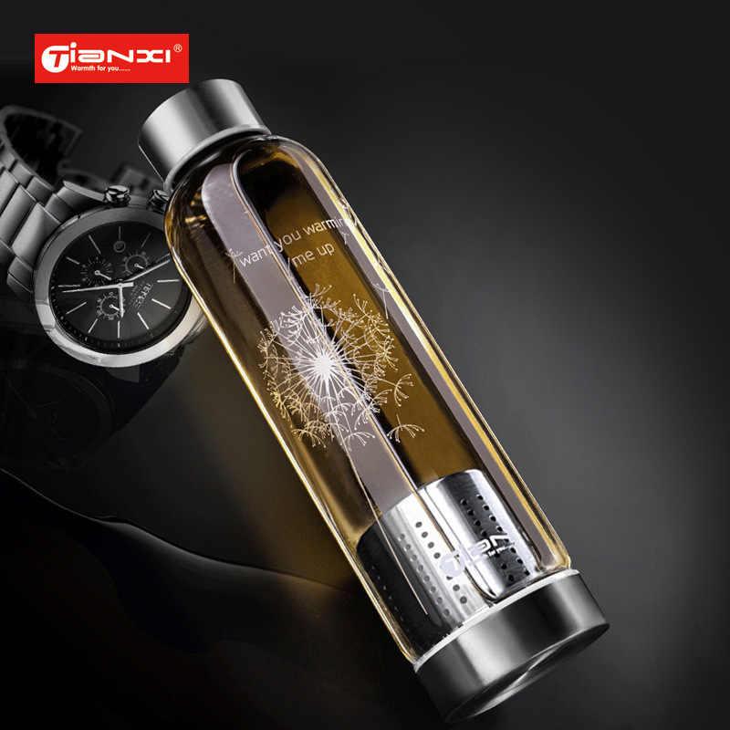 550ml Garrafa de Água de Vidro Garrafa de Chá de Vidro Resistente a Altas Temperaturas Presentes Do Carro Criativo Coador de Chá de Limão Botella 50B