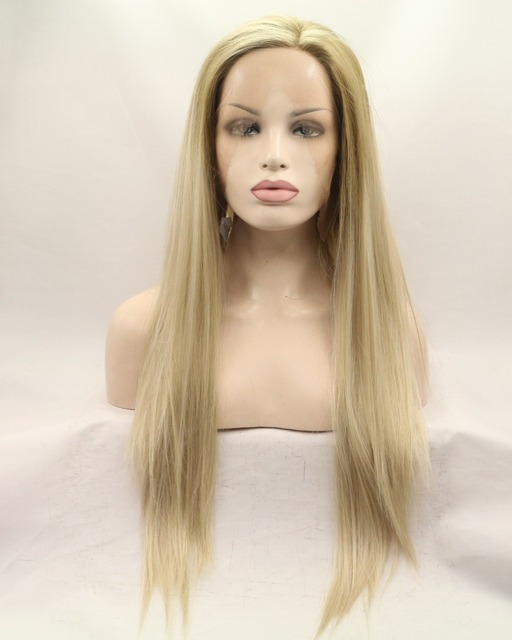Natural blonde mix brown striaght synthetic lace front wig for american long silk ombre blonde lace front wig heat resistant