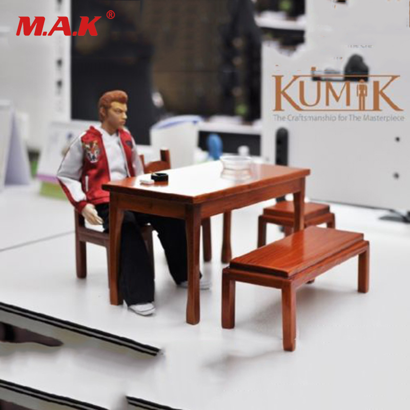 1/6 Scale Action Figure Accesory KUMIK AC 17 Wooden Desk Chair Table Stool 1/6th Furniture Model for 12'' Figure Doll
