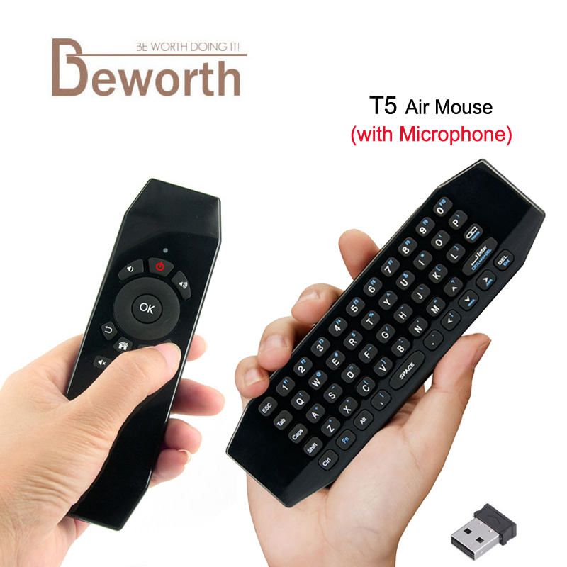 T5 Mini Air Mouse wih Mic Voice 2.4G Wireless 6 Axis Gyroscope Keyboard Remote Control I ...