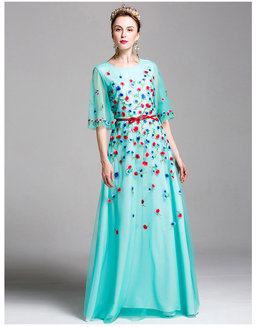 Embroidery 3 Layers Elegant Runway Dresses