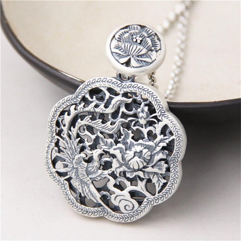 JINSE Exquis S999 Pur Argent Paon Pendentif Collier De Mode Charme Pivoine Bijoux Pour Les Femmes Chandail Collier Accessoires