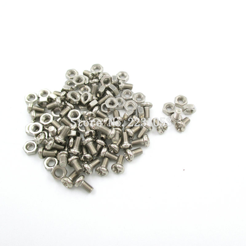 цена на 100PCS M3 Stainless Steel Cross Recessed Pan Head Screws With Nut Phillips Screws Set M3*5mm 50 Sets