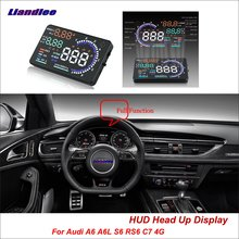 Liandlee Car HUD Head Up Display For Audi A6 C5 C6 C7 S6 RS6 2011-2018 Safe Driving Screen OBD Speedometer Projector Windshield