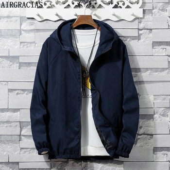 AIRGRACIAS Mens Hooded Jacket Casual Streetwear Solid Color Bomber Jacket Men Overcoat Men Clothing Plus Size 4XL Autumn New фото
