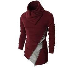 Männlich Pullover Weihnachten Jumper Rollkragen Pulover Gestrickte Luxus Pullover Männer Irregual Reißverschluss Langarm Patchwork Mens Outwear