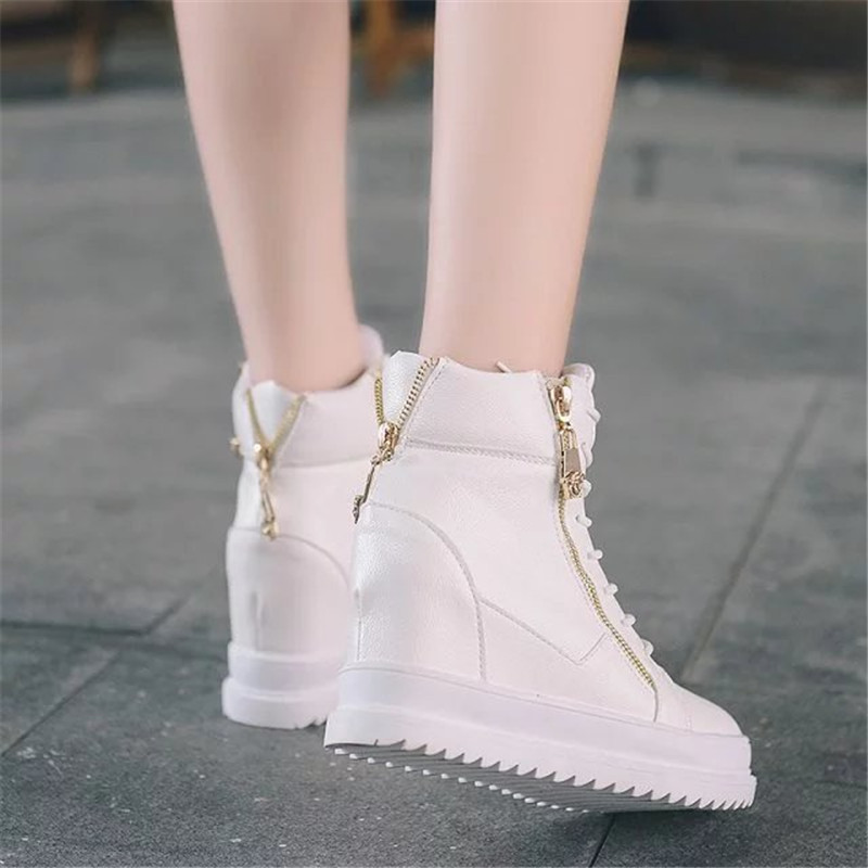Top Botas High Rhinestone White black 2019 Cordones Oculto Zapatos Mujer Con Zipper Tamaño Botines Nueva Wedge Moda 39 35 Plataforma Talón 4xxqAzSnw