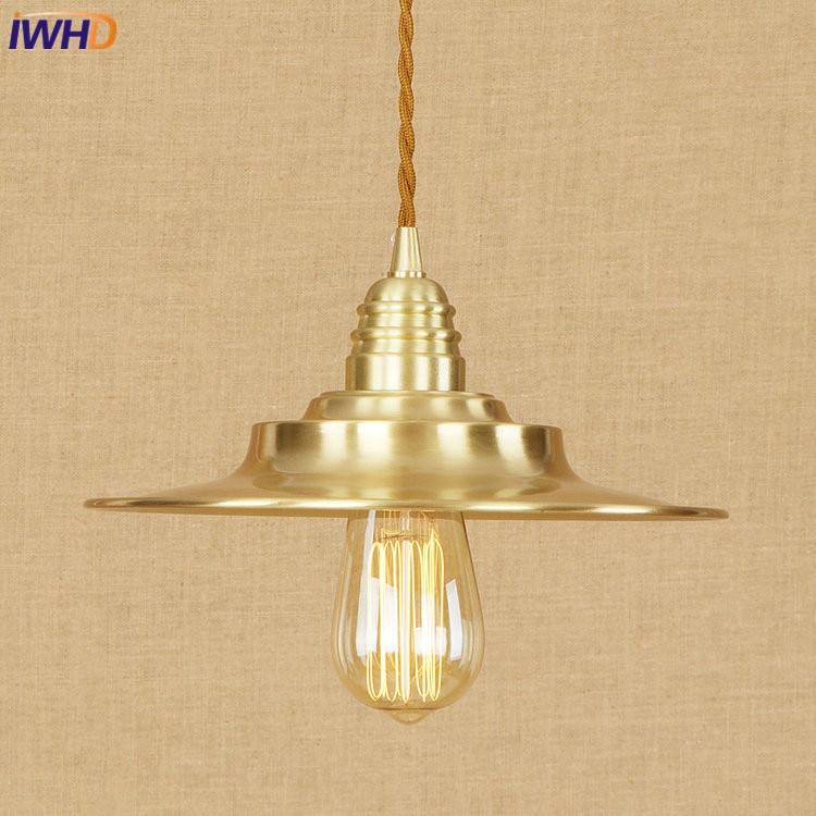 IWHD Copper Pendant Lights Loft Vinatge Industrial LED Pendant Lamp Creative Droplight Hanglamp Fixtures Home Lighting Luminaire