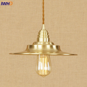 IWHD Copper Pendant Lights Loft Vinatge Industrial LED Pendant Lamp Creative Droplight Hanglamp Fixtures Home Lighting Luminaire
