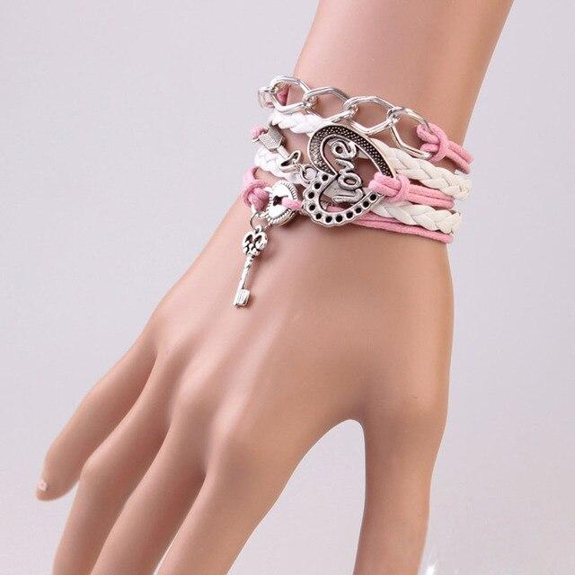 FAMSHIN New Handmade Bracelet Lock key Cupid's Arrow Charms Infinity Bracelet White Pink Leather Bracelet Women Best Couple Gift 4