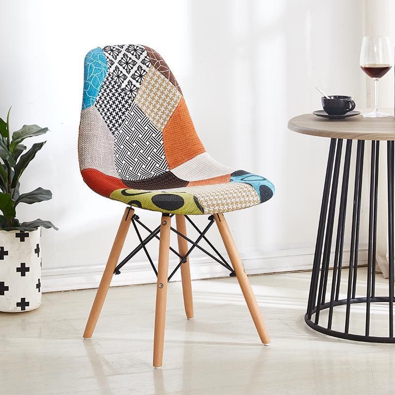 Креативный нордический обеденный стул для приема, чтобы обсудить стул для гостиной, современный минималистичный домашний стул из твердой древесины - Цвет: Style 1