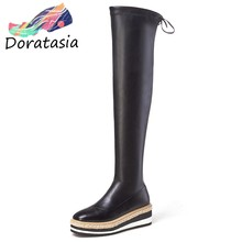 DORATASIA New Genuine Leather Thigh High Boots Women 2019 Platform Over The Knee Boots Comfortable Wedges Shoes Woman(China)