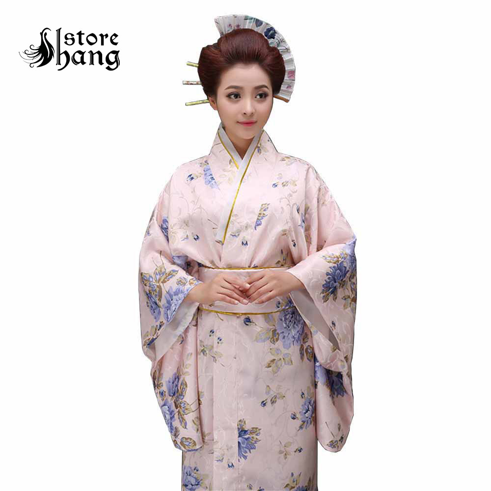 Women Kimono Robe Costume Japanese Yukata With Obi Floral Bathrobe Dress Traditional Japones Kimono  Halloween Costume Dress