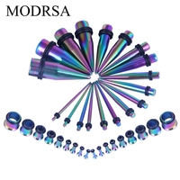 MODRSA Taper Kit 36 Pieces Stainless Steel Ear Plugs Expander Kit Multicolor Taper Stretcher Gauges Screw Tunnels Stretching Kit