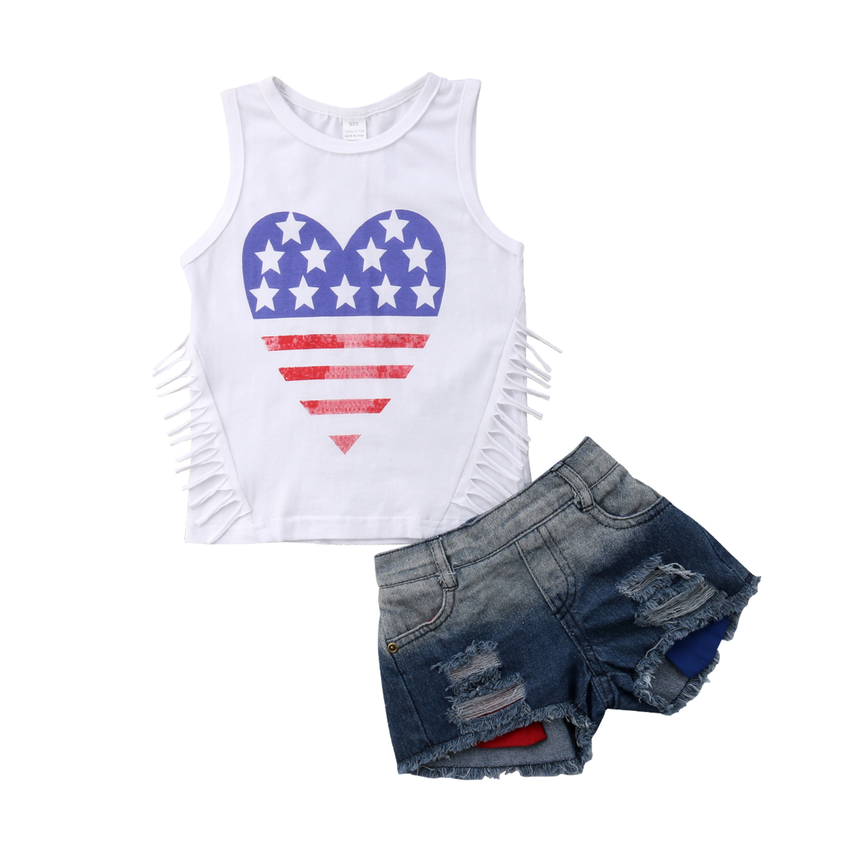 United-States-Independence-Day Cartoon Toddler//Infant Flounced T Shirts Outfits for 2-6T Kids Girls