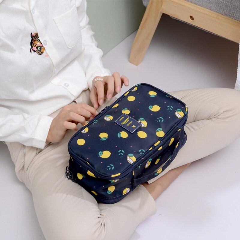 2018 New Arrival Fruit Lemon Women Underwear Travel Bag Bra Organizer Cosmetic Makeup Pouch Case for Ladies