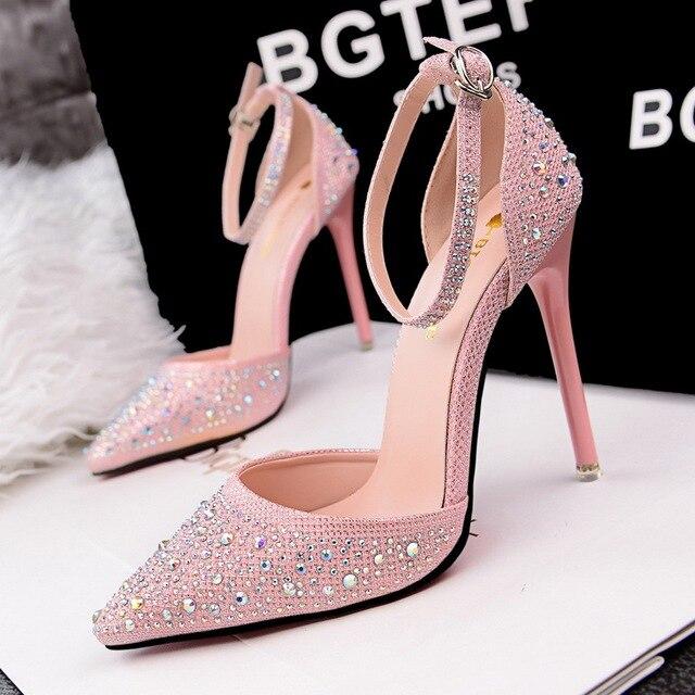 Fashion Wedding Shoes For Women Black Dress Pumps Ankle Strap