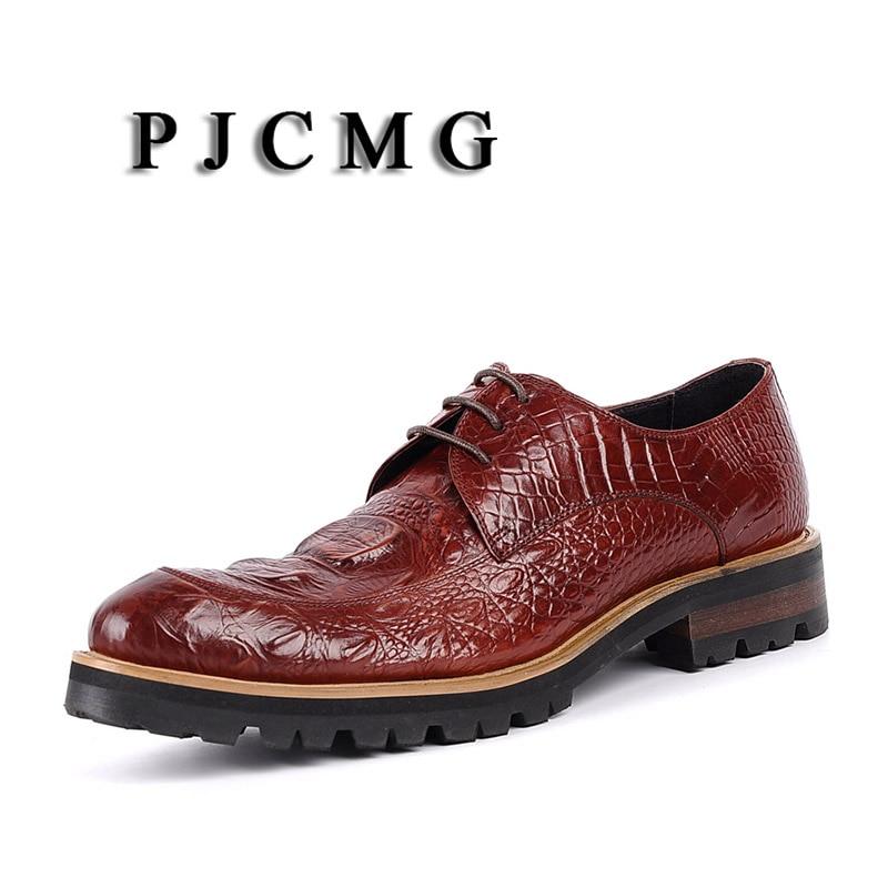 Bout Pjcmg Chaussures Main Derbies Black De Boucle Mode Véritable Hommes Occasionnels Cuir Mariage Sangle Robe red En D'affaires rouge Noir Pointu rvUZFwr5q