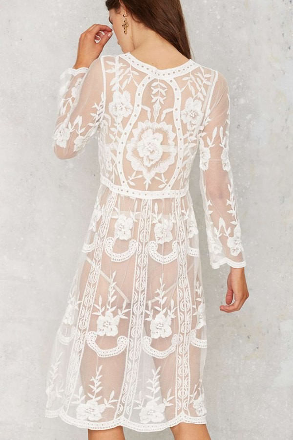 White Lace Long Sleeve Knee Length Loose Beach Dress