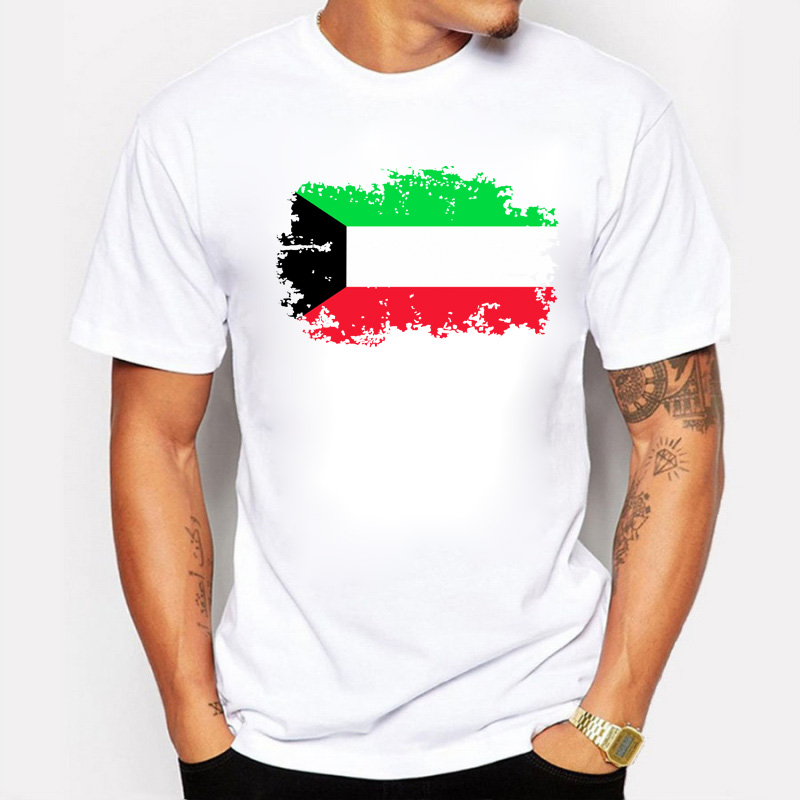 BLWHSA New Summer Kuwait Flag T Shirts For Men Cotton Casual Nostalgic Kuwait Flag Style Contest Cheer Short Tops & Tees