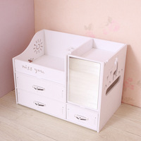 Beauty Makeup Organizer with drawers, Wood Plastic Cosmetic Vanity Holder, Small Bathroom Counter Storage, (Up&down drawers)