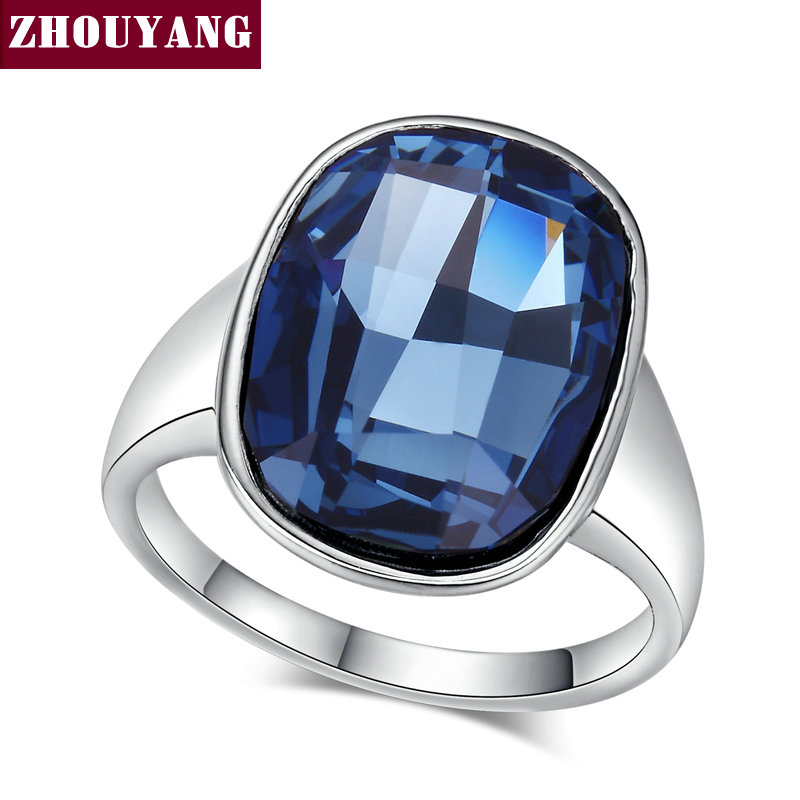 Top Quality ZYR123 Silvery Nobleness Deep Blue Crystal Ring Silver Color Austrian Crystals Full Sizes Wholesale