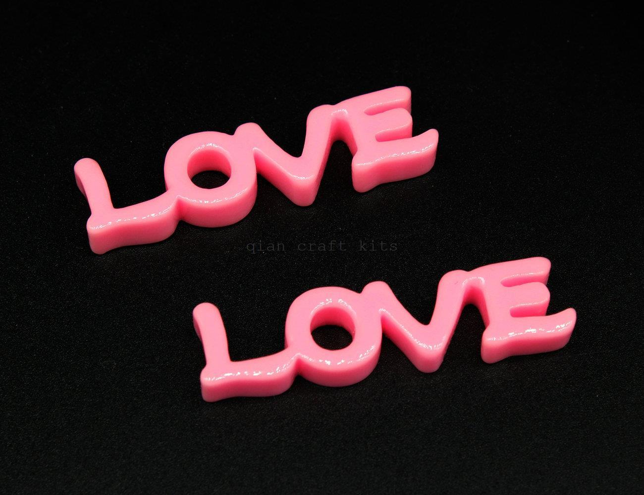 100pcs of big 47mm Love pink Kawaii Valentine Cabochon Decoden DIY Cell Phone Deco Scrapbooking LOVE Letters flatback Deco cabs