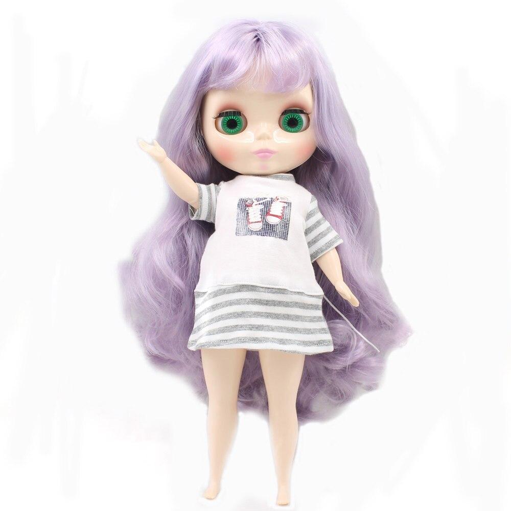 Blyth poupée pour corps dodu usine graisse violet clair avec bandgs bjd jouets BL1049 neo adapté pour cosmétique bricolage refit offre spéciale-in Poupées from Jeux et loisirs    1